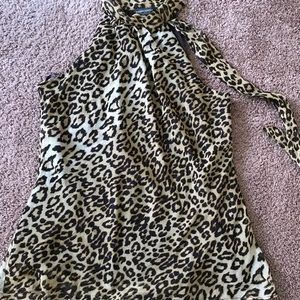 "Banana Republic ""Leopard Silk Halter-neck"" top XL"